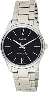 Casio Men's Quartz Watch, Analog Display and Stainless Steel Strap Mtp-V005D-1Budf, Silver Band