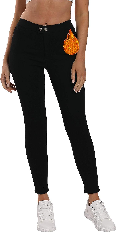 Yehopere Women Skinny Pants Winter Fleece E 品質検査済 Slim Lined 送料無料 Fit