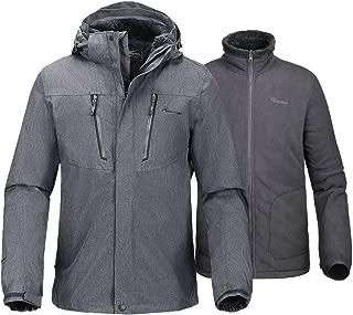 Men's 3-in-1 Ski Jacket - Winter Jacket Set with Fleece Liner Jacket & Hooded Waterproof Shell - for Men