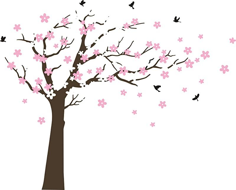 MAFENT Large Cherry Blossom Tree Blowing In The Wind Tree Wall Decals Wall Sticker Vinyl Wall Art Kids Rooms Teen Girls Boys Wallpaper Wall Stickers Room Decor Dark Brown Tree White And Pink Flower