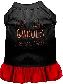 فستان للكلاب مطبوع عليه All the Ghouls من ميراج بت برودكتس، مقاس كبير، أسود مع أحمر