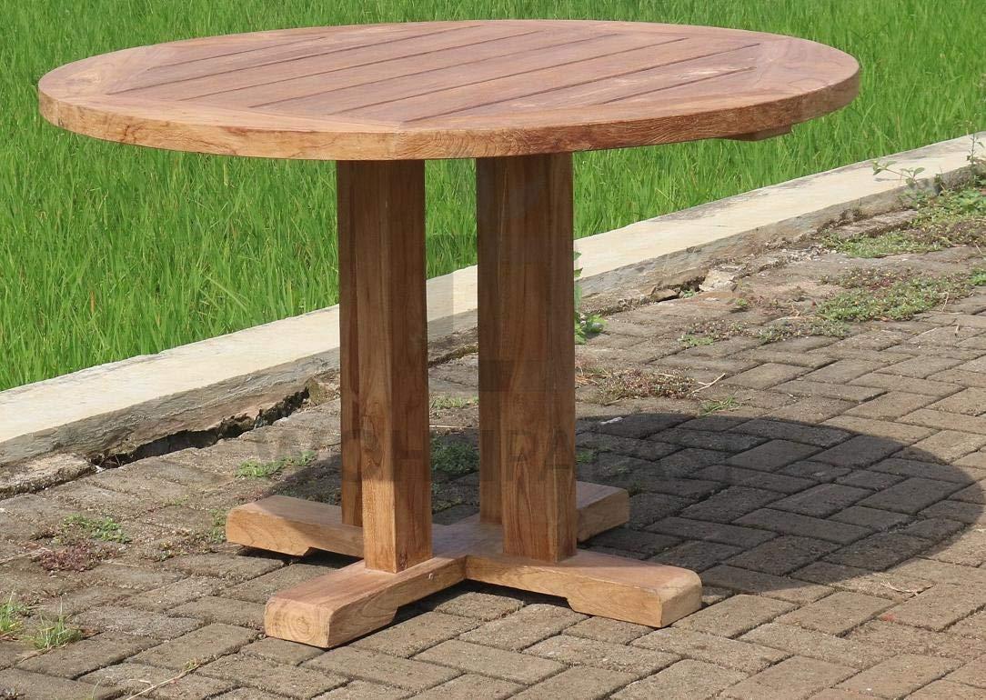 Wohnpalast - Mesa de jardín redonda (madera de teca, 140 x 140 x 78 cm): Amazon.es: Hogar