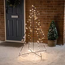 CHRISTOW Black Christmas Silhouette Tree, Warm White LED, Free Standing Pre Lit Outdoor Decoration, 4ft 5ft 6ft