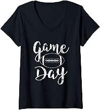 Womens Game Day Football Cute Football Top V-Neck T-Shirt