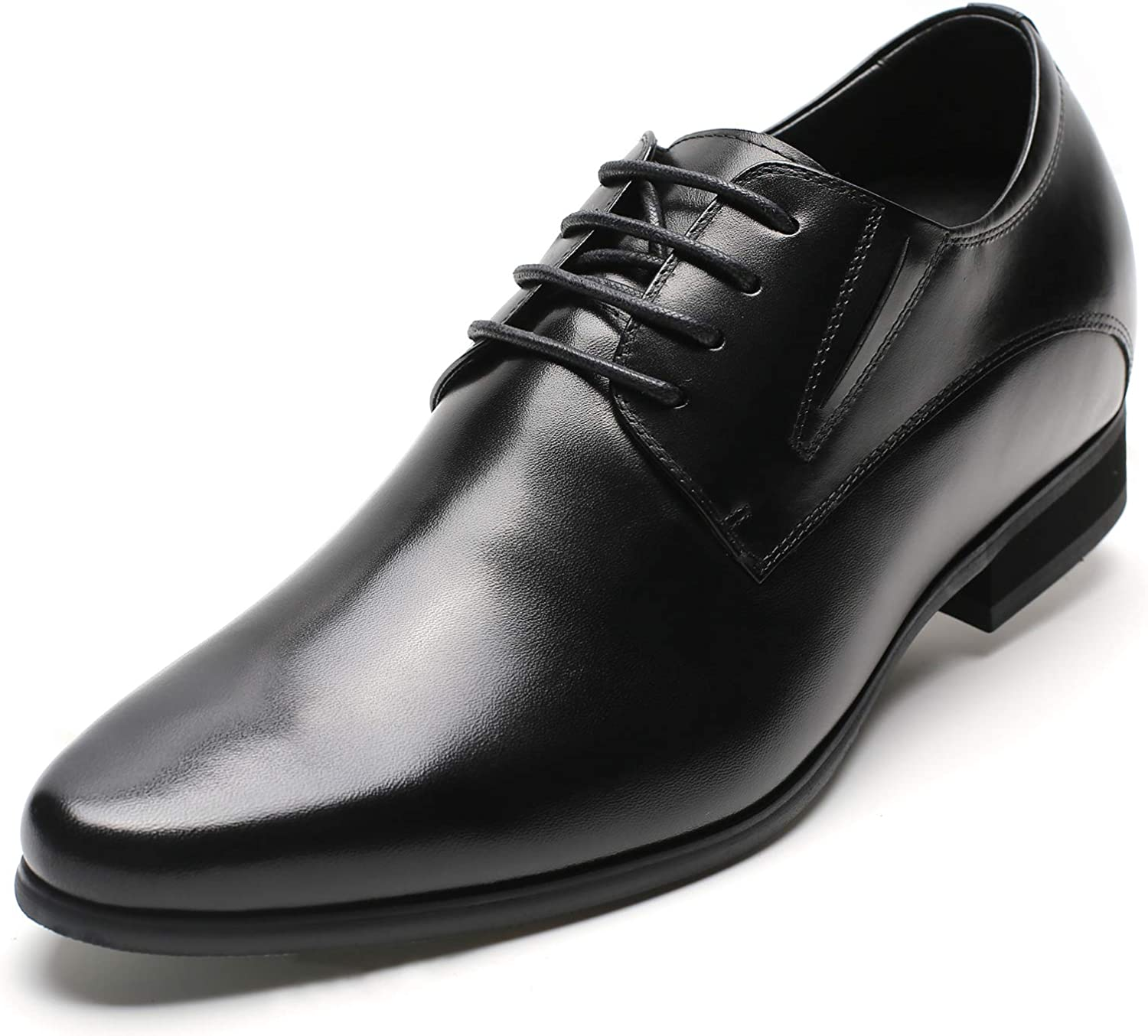 CHAMARIPA Men's Oxford Height Increasing Elevator Shoes Tuxedo Dress Shoes Genuine Leather 3.15'' Taller H62D11K011D