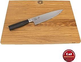 Kai Shun Tim Mälzer TMK-0706 - Juego de cuchillos de cocina (20 cm, cuchillo japonés ultraafilado y tabla de cocina grande de madera de roble, 40 x 30 cm)