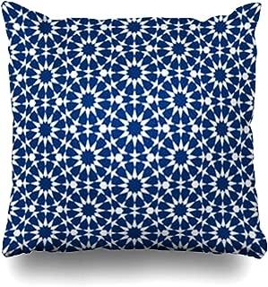 ArtsDecor Throw Pillow Covers Arabesque Dubai Moroccan Mosaic in Geometric Pattern Morocco Arabic Vintage Persian Shape Home Decor Cushion Square Size 18