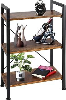 TomCare Bookshelf  3-Tier Wood and Metal Shelves Industrial Bookcase Display Office Storage Rack Multifunctional Furniture...