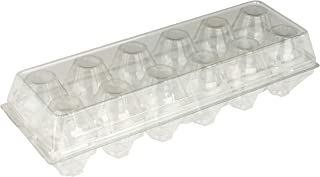 Recycled PETE Clear Plastic Disposable Tri-Fold Egg Cartons (Holds 1 Dozen Eggs) by MT Products - 15 Pieces