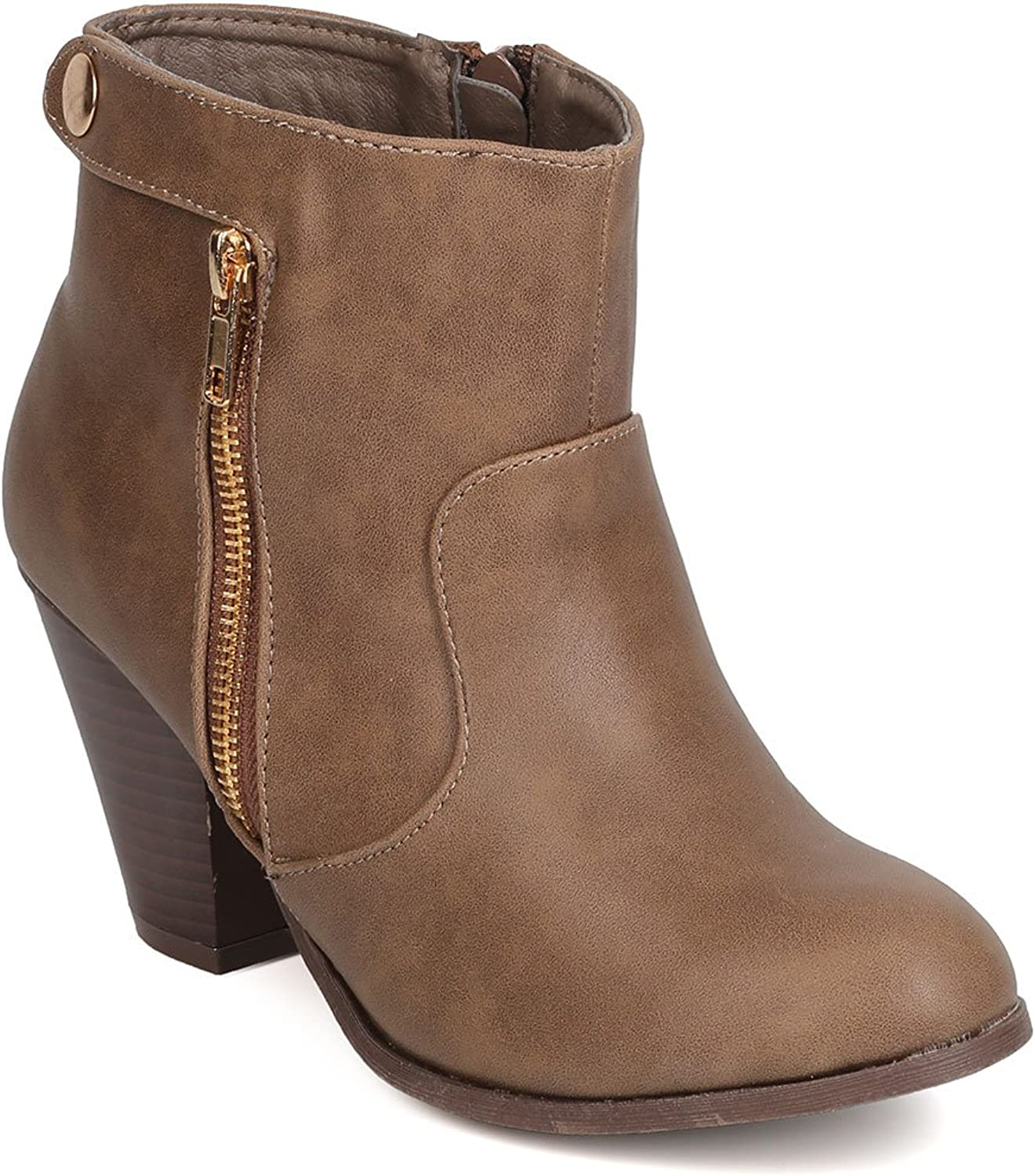 Nature Breeze FI88 Women Leatherette Chunky Heel Zippered Bootie - Taupe