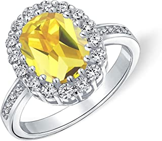 Vintage Style Brilliant Cut Canary Yellow Clear 4CT Oval Pave Halo Cubic Zirconia AAA CZ Promise Engagement Ring For Women...