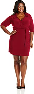 Women's Plus-Size Three-Quarter Sleeve Faux-Wrap Dress