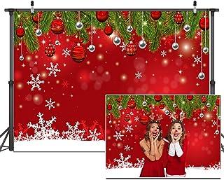 Dudaacvt 3 x 2,4 m Schneeflocke Weihnachten Hintergrund für Winter Silvester Fotografie Familie Party Geburtstag Glitzer Bokeh Sparkle Rot Merry Xmas Hintergrund Babyparty Dekoration D336