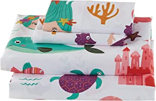 Luxury Home Collections Girls/Teens 4 Piece Queen Sheet Set Mermaid Sea Horse Turtles Star Fish Dolphins White Purple Pink Teal (Queen Sheet)