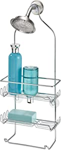 "iDesign Milo Metal Wire Hanging Shower Caddy, Baskets and Towel Bar for Shampoo, Conditioner, and Soap with Hooks for Razors, Towels, and More, 4.25"" x 9"" x 21.25"", Chrome"