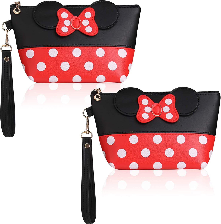 2pcs-Cartoon Leather mart Travel High quality new Makeup with Portable Handbag Zipper