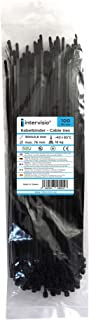 intervisio XV-QDWT-M5G8 Cable Zip Ties Wrap Nylon Cord, Black, 100 Pieces 300mm x 3.6 mm