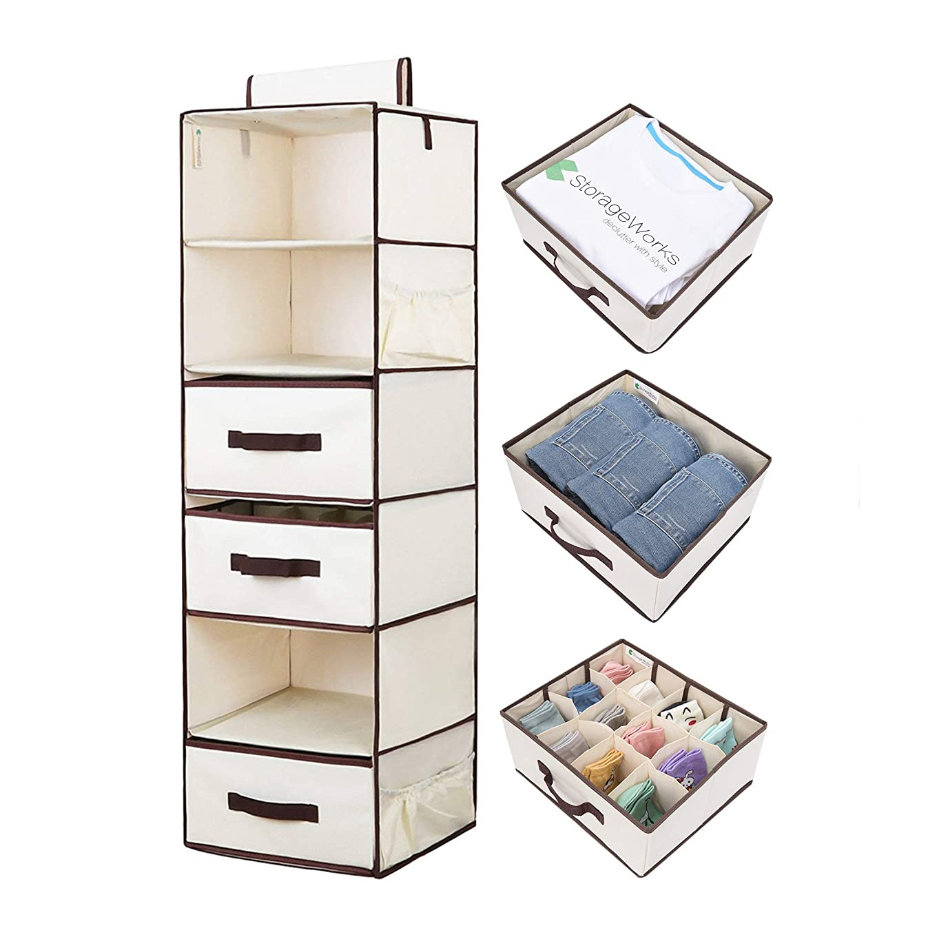 StorageWorks Hanging Closet Organizer, Foldable Closet Hanging Shelves with 2 Drawers & 1 Underwear Drawer, Polyester Canvas Closet Organizer,Natural, 6-Shelf, 13.6x12.2x42.5 inches