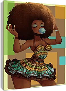 HVEST African Woman Canvas Wall Art Sexy Black Girl with Brown Afro Hair Artwork Hippie Paintings for Living Room Bedroom Bathroom Decor,Stretched and Framed Ready to Hang,12x16 inches