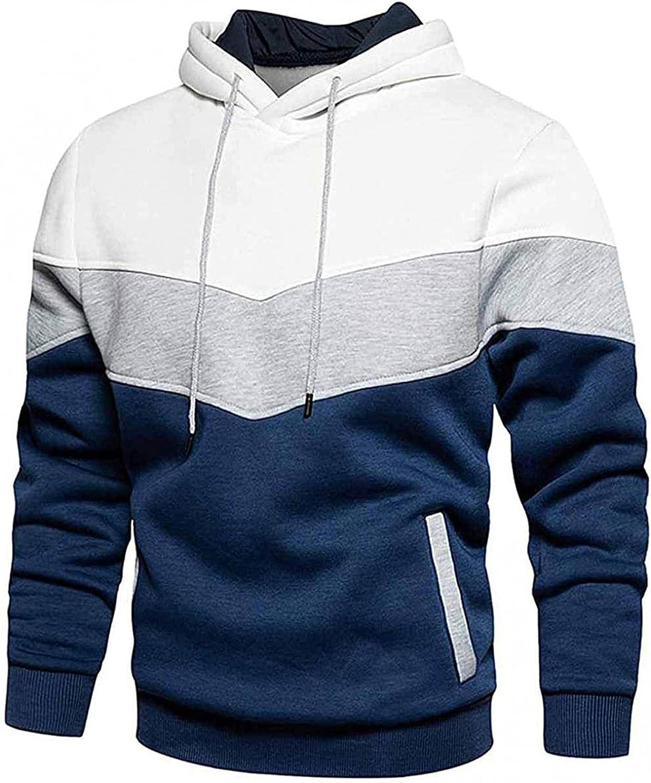 Aayomet Men's Novelty Color Block Pullover Fleece Hoodie Long Sleeve Casual Sweatshirt With KangaPocket