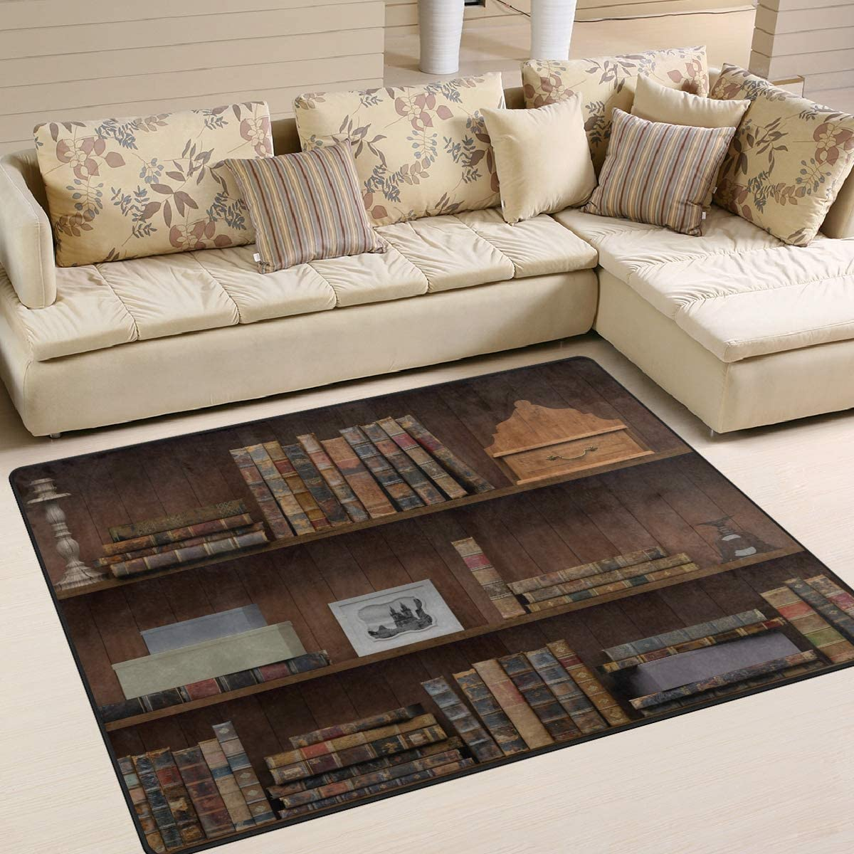 New products, world's highest quality popular! ALAZA Vintage Library Bookshelf Bookworm for Rugs Area Livin Rug supreme