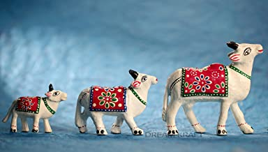 DreamKraft Set of 3 White Cow Showpiece for Home Décor and Gift Purpose (10x9, 7.5 x6.5,6x5 cm) (White)