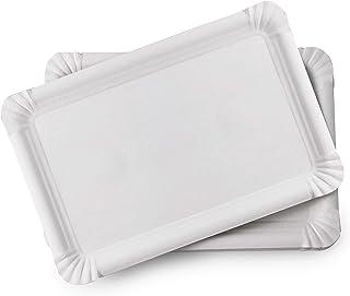 Extiff Lot de 20 Plateaux en Carton Blanc - Plateaux de présentation pour pâtisseries ou Buffet Froid (23 x 16 cm)