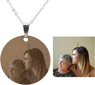 Personalized Photo Necklace Custom Your Picture Engraved Message Dog Tag Necklace(Round)