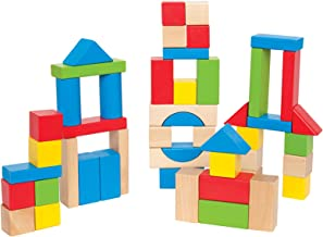 Maple Wood Kids Building Blocks by Hape | Stacking Wooden Block Educational Toy Set for Toddlers, 50 Brightly Colored Piec...
