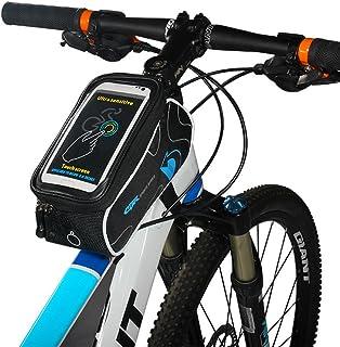 Blommig cykelram tub väska, cykelram rem fäste berg väg cykling tub vattentät främre toppförvaring tvärstång cykelväska