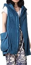 Mordenmiss Women's Sleeveless Coat Vest Hoodie Waistcoat Anoraks with Big Pockets