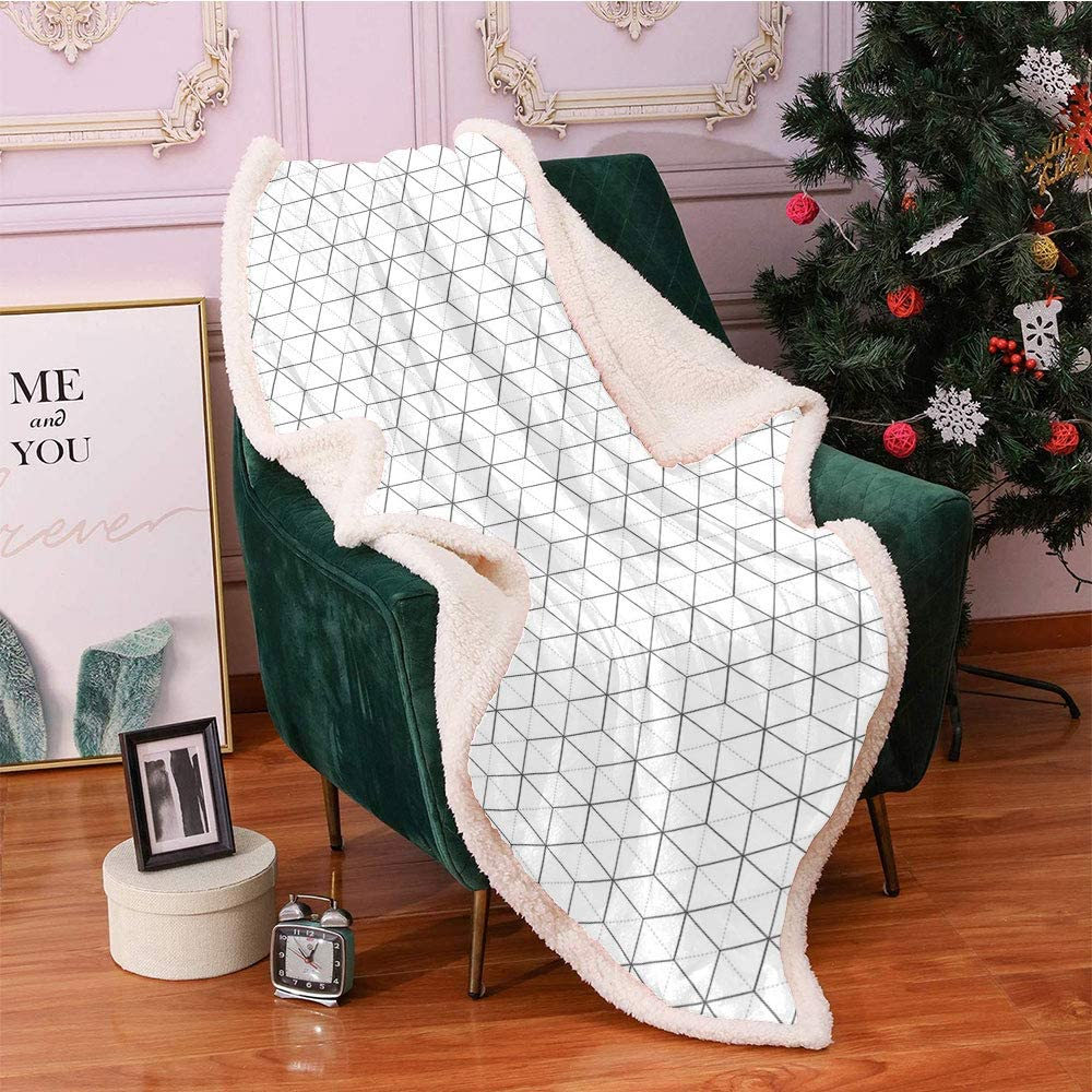 Geometric Plush Blanket Abstract Minneapolis Mall Line Shapes Triangles Image New popularity Hex