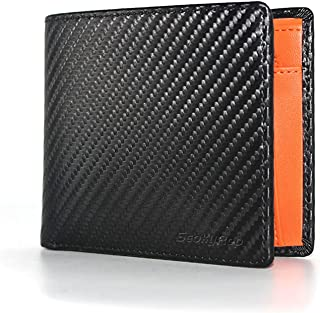 Seoky Rop Men's Carbon Fiber Leather Wallet Bifold with RFID Blocking, Stylish Wallet for Coin Pocket and 2 ID Window, Bla...