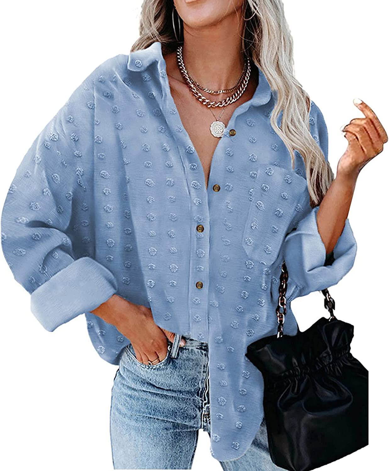 Womens Chiffon Button Down Shirts Breasted Long Sleeve Oversized Print Blouses Work Vacation Casual Tops Blue