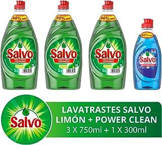 Salvo Lavatrastes Líquido Limón y Botella Power Clean, 2.55 L ( Tres Botellas de 750ml + Una Botella de 300 ml)