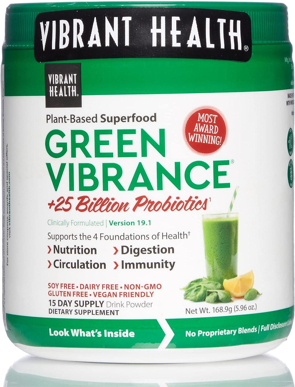 Vibrant Health Green Vibrance Vegan Superfood Free shipping Max 88% OFF Powder Servi 15