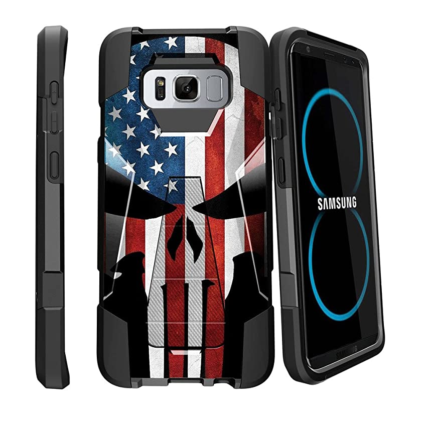 MINITURTLE Case Compatible w/ Case for Galaxy S8   SMG950   Samsung Galaxy S8 Flag Case[SHOCK FUSION] Shockproof Hybrid Stand Case w/ Stand + American Flag Skull