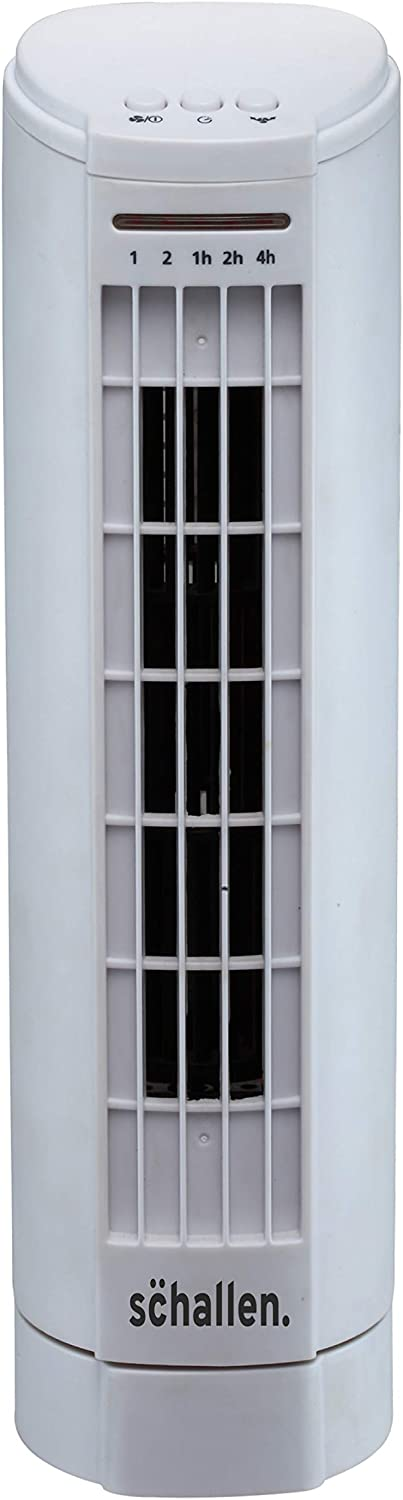 Schallen 15 Electric Air Cooling Quiet Oscillation Floor Desk Mini Tower Fan with Timer /& Speed Settings Black