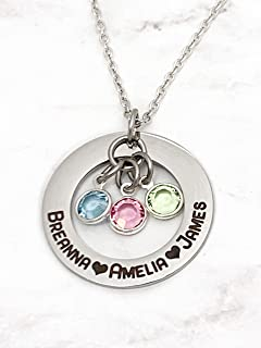 Customizable Name and Birthstone Family Necklace