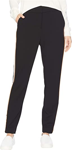 Pants with Contrast Stripe and Button on Ankle