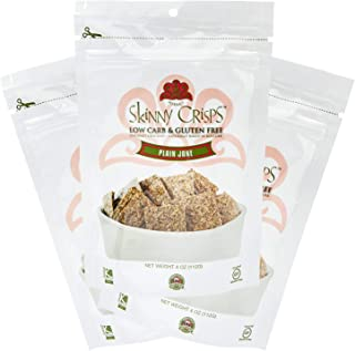 Skinny Crisps Plain Jane Low Carb Gluten Free Crackers 4 Ounce Bag (Pack of 3)