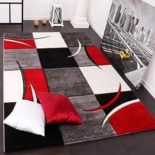 Paco Home Alfombra De Diseño Perfilado - A Cuadros En Rojo Negro, tamaño:80x150 cm