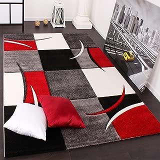 Paco Home Alfombra De Diseño Perfilado - A Cuadros En Rojo
