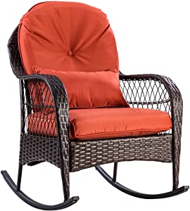 AlphaBaby Patio Rattan Wicker Rocking Chair Porch Deck Rocker Outdoor Furniture W/Cushion