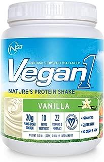 Nutrition 53 Vegan 1 Natural Protein Shake Powder, Natural, Balanced, Vanilla (1.5 lb)