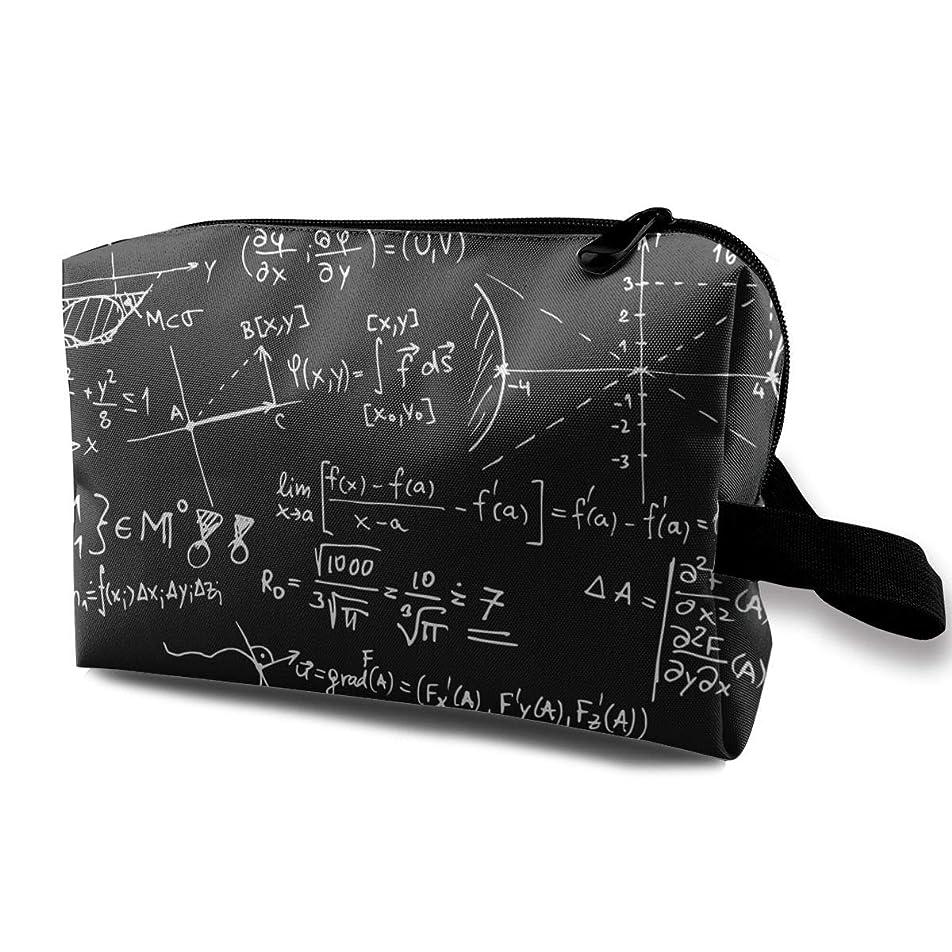 線オーケストラレディース 化粧ポーチ 旅行収納ポーチ トイレタリーバッグ 数式物理方程式 コスメ メイクポーチ ハンドバッグ 大容量 化粧品 鍵 小物入れ 軽量