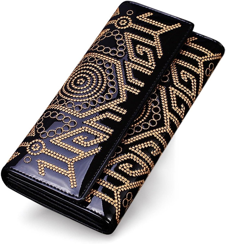 Women's Wallet, Personalized Long Hand Bag Card Bag Hand Long Wallet MultiFunction Zipper Wallet Ladies Temperament Wallet (color   Black, Size   10  19cm)
