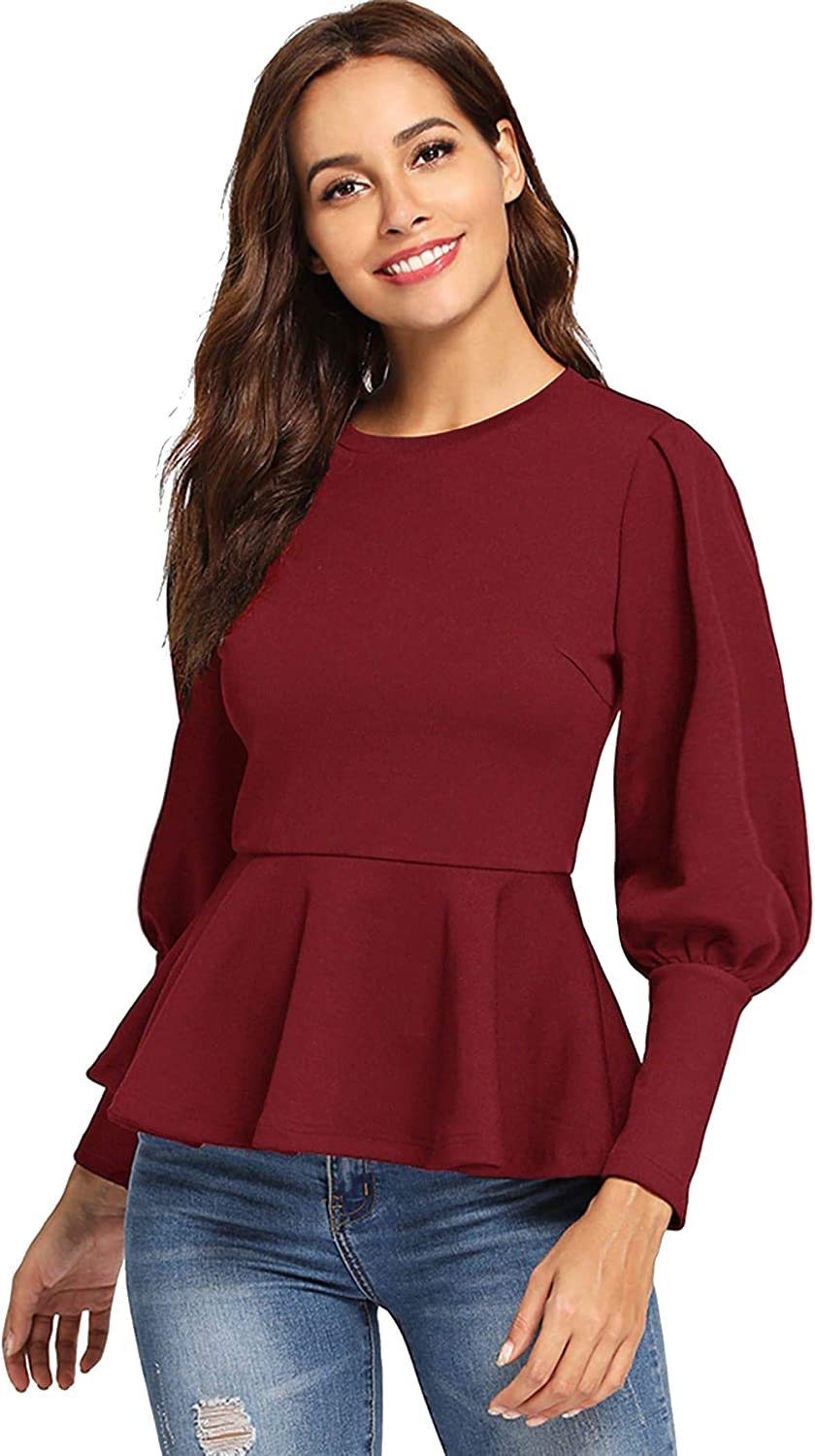 0e44ba8a0c536 Romwe Women's Elegant Fit and Flare Peplum Tee Top Blouses Ribbed ...