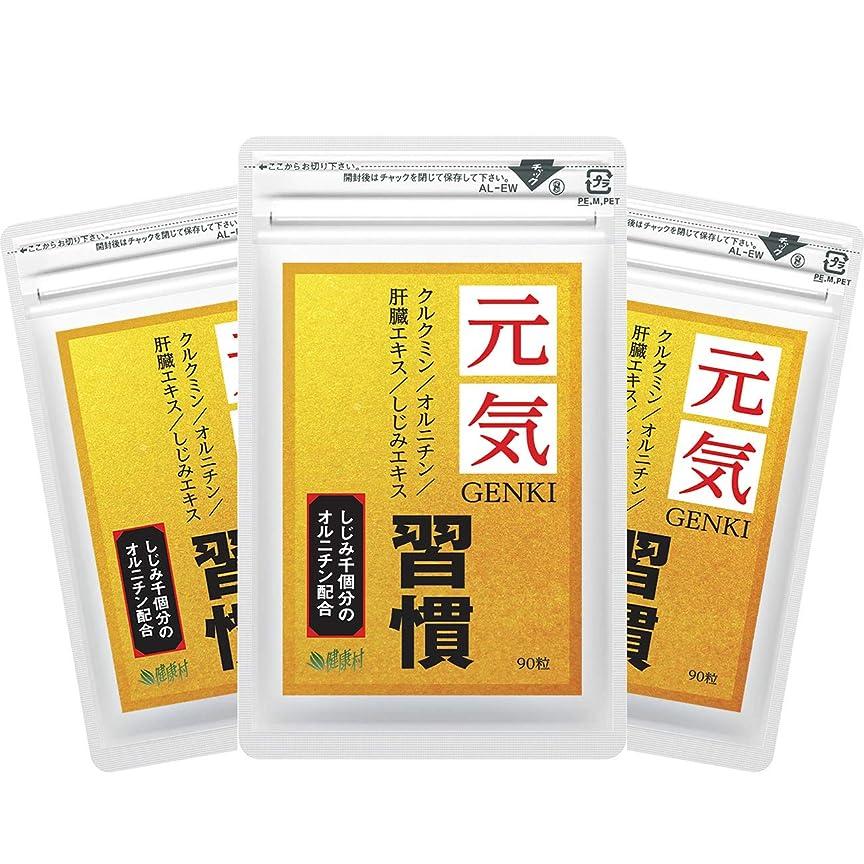 はしご生じる熟した元気習慣 90粒 3袋セット クルクミン オルニチン 肝臓エキス しじみエキス配合 (約3ヶ月分)