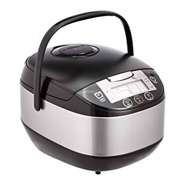 AmazonBasics Multi-Functional Rice Cooker - 10-Cup Uncooked (20-Cup Cooked), Black